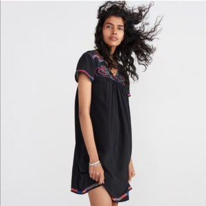 Madewell Embroidered Cross-Stitch Silk Dress